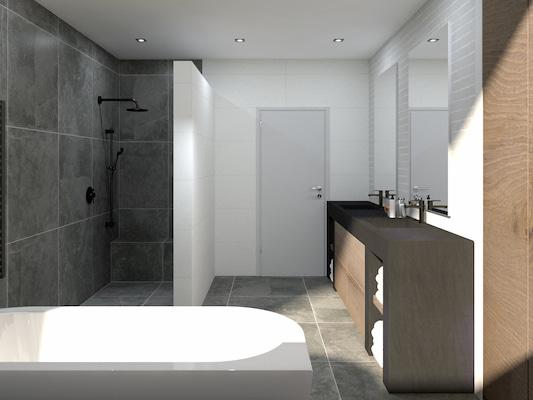 Donkere wand en vloertegels badkamer - VHS Tegeldomein